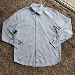 Calvin Klein White/Gray Dots & Stripes Shirt Large